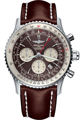 Breitling Watches - Navitimer B03 Chronograph Rattrapante 45 Stainless Steel - Leather Strap - Tang - Style No: AB031021/Q615/443X/A20BA.1