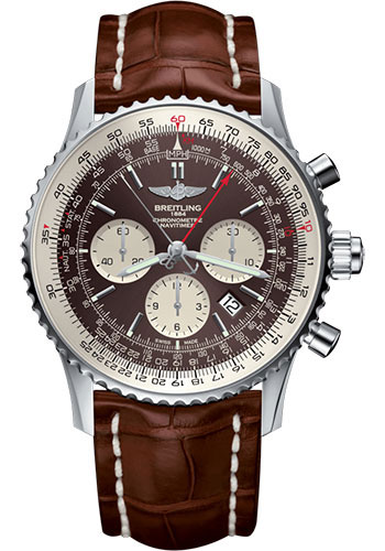 Breitling Watches - Navitimer B03 Chronograph Rattrapante 45 Stainless Steel - Croco Strap - Tang Buckle - Style No: AB031021/Q615/754P/A20BA.1
