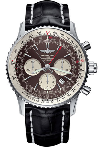 Breitling Watches - Navitimer B03 Chronograph Rattrapante 45 Stainless Steel - Croco Strap - Folding Buckle - Style No: AB031021/Q615/761P/A20D.1