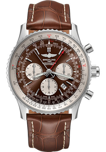 Breitling Watches - Navitimer B03 Chronograph Rattrapante 45 Stainless Steel - Croco Strap - Folding Buckle - Style No: AB0310211Q1P1