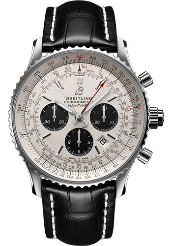 Breitling Watches - Navitimer B03 Chronograph Rattrapante 45 Stainless Steel - Croco Strap - Tang Buckle - Style No: AB0311211G1P2