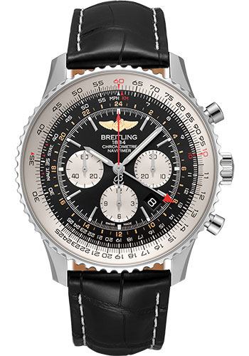 Breitling Watches - Navitimer B04 Chronograph GMT 48 Stainless Steel - Croco Strap - Tang - Style No: AB0441211B1P1