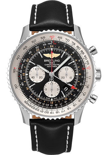 Breitling Watches - Navitimer B04 Chronograph GMT 48 Stainless Steel - Leather Strap - Tang - Style No: AB0441211B1X1