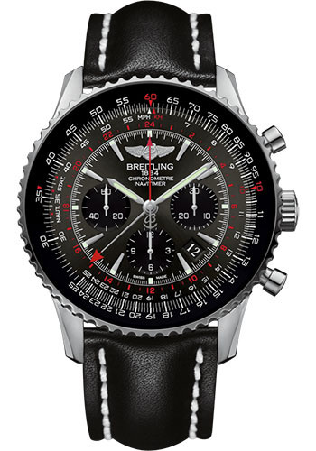 Breitling Watches - Navitimer B04 Chronograph GMT 48 Stainless Steel - Leather Strap - Tang - Style No: AB04413A/F573/441X/A20BA.1