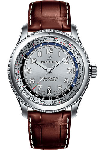 Breitling Watches - Aviator 8 B35 Automatic Unitime 43 Stainless Steel - Croco Strap - Style No: AB3521U01G1P1