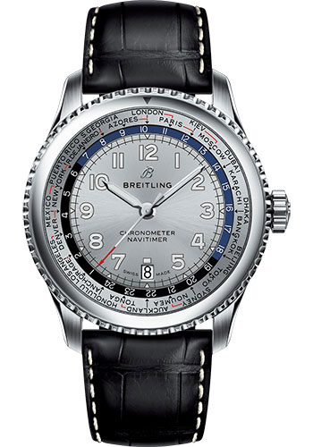 Breitling Watches - Aviator 8 B35 Automatic Unitime 43 Stainless Steel - Croco Strap - Tang Buckle - Style No: AB3521U01G1P2