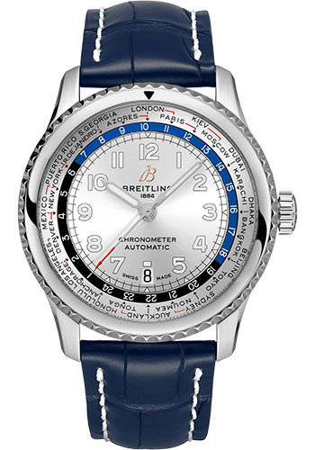 Breitling Watches - Aviator 8 B35 Automatic Unitime 43 Stainless Steel - Croco Strap - Folding Buckle - Style No: AB3521U01G1P4