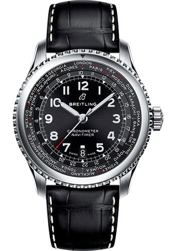 Breitling Watches - Aviator 8 B35 Automatic Unitime 43 Stainless Steel - Croco Strap - Tang Buckle - Style No: AB3521U41B1P1