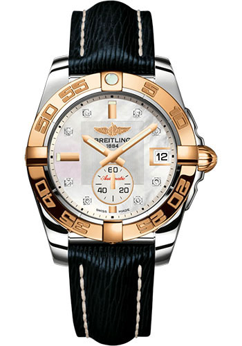 Breitling Watches - Galactic 36 Automatic Steel and Rose Gold - Polished Bezel - Sahara Strap - Style No: C37330121A2X1