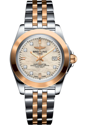 Breitling Watches - Galactic 32 Sleek Steel and Gold - Diamond Bezel - Pilot Bracelet - Style No: C7133012/A803/792C