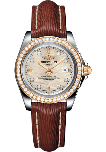 Breitling Watches - Galactic 32 Sleek Steel and Gold - Diamond Bezel - Sahara Strap - Tang - Style No: C7133053/A803/211X/A14BA.1