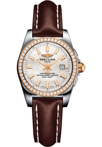 Breitling Watches - Galactic 29 SleekT Steel and Gold - Diamond Bezel - Leather Strap - Tang - Style No: C7234853/A791/484X/A12BA.1