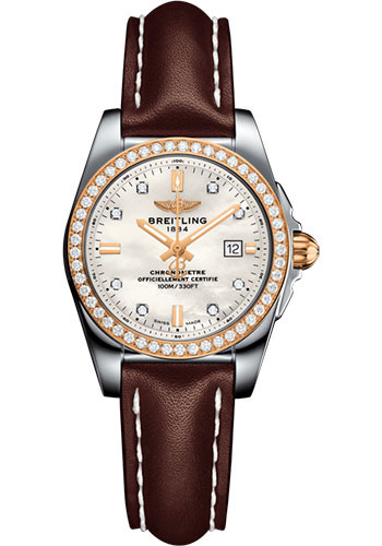 Breitling Watches - Galactic 29 SleekT Steel and Gold - Diamond Bezel - Leather Strap - Tang - Style No: C7234853/A792/484X/A12BA.1