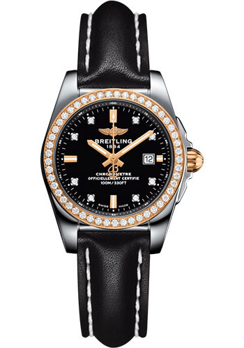 Breitling Watches - Galactic 29 SleekT Steel and Gold - Diamond Bezel - Leather Strap - Tang - Style No: C7234853/BE86/477X/A12BA.1