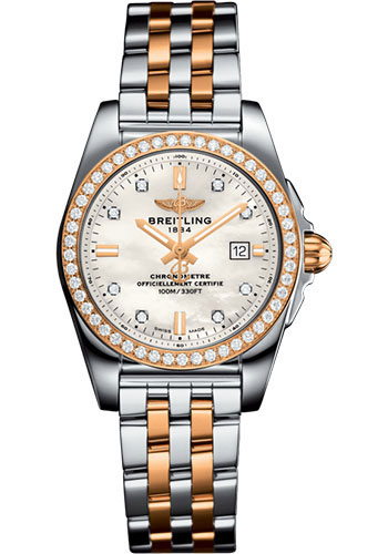 Breitling Watches - Galactic 29 SleekT Steel and Gold - Pilot Bracelet - Style No: C72348531A1C1
