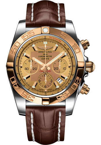 Breitling Watches - Chronomat 44 Steel and Rose Gold Polished Bezel - Croco Strap - Deployant - Style No: CB011012/H548-Croco-Brown-Deployant