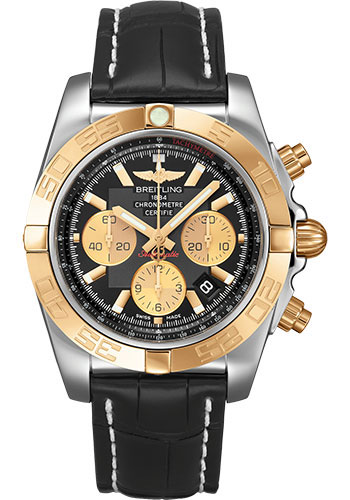 Breitling Watches - Chronomat 44 Steel and Rose Gold Polished Bezel - Croco Strap - Tang - Style No: CB0110121B1P1