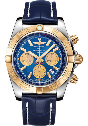 Breitling Watches - Chronomat 44 Steel and Rose Gold Polished Bezel - Croco Strap - Tang - Style No: CB0110121C1P1