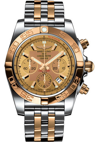Breitling Watches - Chronomat 44 Steel and Rose Gold Polished Bezel - Pilot Two Tone Bracelet - Style No: CB0110121H1C1