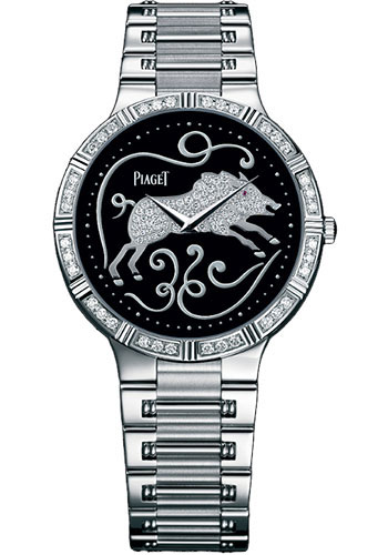 Piaget Watches - Dancer Ultra-Thin - 38 mm - White Gold - Onyx Zodiac - Style No: G0A32201