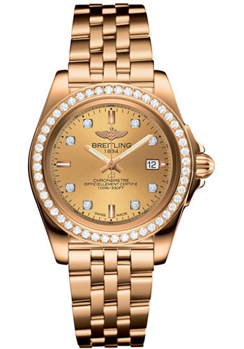 Breitling Watches - Galactic 32 Sleek Red Gold - Diamond Bezel - Pilot Bracelet - Style No: H7133053/H550/792H