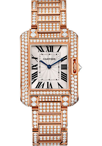 Cartier Watches - Tank Anglaise Pink Gold With Diamonds - Style No: HPI00723