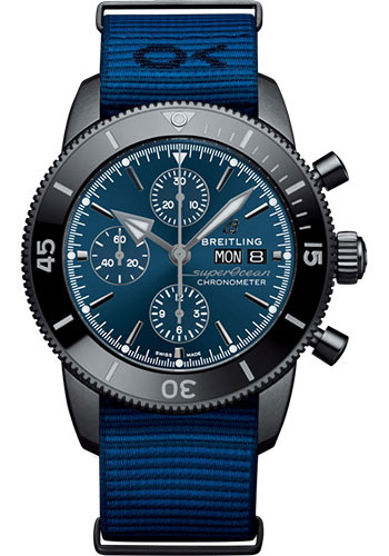 Breitling Watches - Superocean Heritage Chronograph 44mm - Black Steel - Nato Strap - Style No: M133132A1C1W1