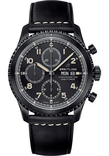 Breitling Watches - Aviator 8 Chronograph 43 Black Steel - Leather Strap - Style No: M13314101B1X1