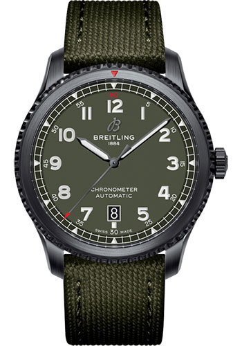 Breitling Watches - Aviator 8 Automatic 41 Black Steel - Leather Strap - Style No: M173152A1L1X1