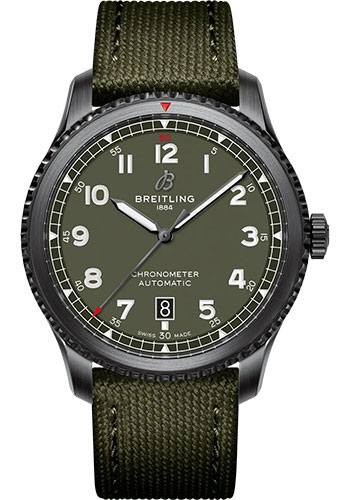 Breitling Watches - Aviator 8 Automatic 41 Black Steel - Leather Strap - Folding Buckle - Style No: M173152A1L1X2