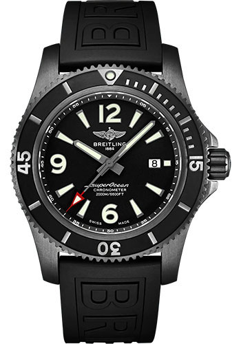 Breitling Watches - Superocean II Automatic 46 Blacksteel Black Steel - Rubber Strap - Folding Buckle - Style No: M17368B71B1S2