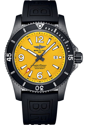Breitling Watches - Superocean II Automatic 46 Blacksteel Black Steel - Rubber Strap - Folding Buckle - Style No: M17368D71I1S2