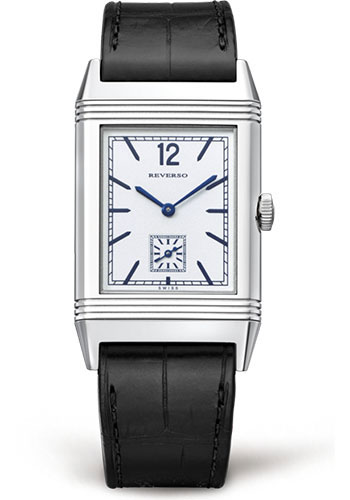 with second jaeger timepiece mm home art silvered available duoface measuring a lecoultre on x insider new this stainless elegant front steel in hands the presents format deco dial and small classic ultra large understated very watches an reverso watch case
