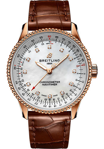 Breitling Watches - Navitimer Automatic 35mm - Red Gold - Croco Strap - Tang - Style No: R17395211A1P1