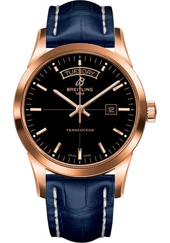 Breitling Watches - Transocean Day and Date Red Gold on Croco - Style No: R4531012/BB70-croco-blue-tang