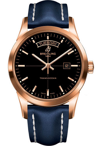 Breitling Watches - Transocean Day and Date Red Gold on Leather Deployant - Style No: R4531012/BB70-leather-blue-deployant