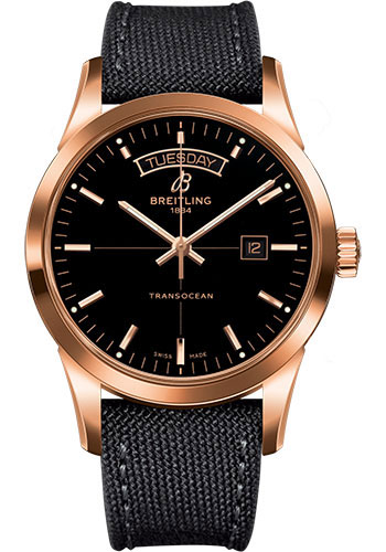 Breitling Watches - Transocean Day and Date Red Gold on Military Strap - Style No: R4531012/BB70-military-anthracite-tang