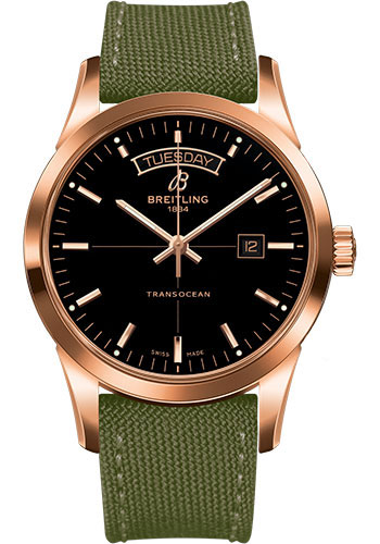 Breitling Watches - Transocean Day and Date Red Gold on Military Strap - Style No: R4531012/BB70-military-khaki-green-tang