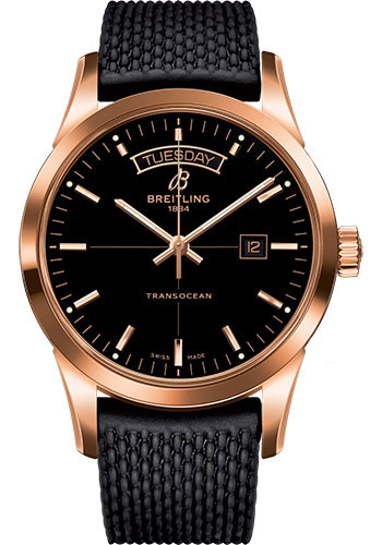 Breitling Watches - Transocean Day and Date Red Gold on Rubber Aero Classic Deployant - Style No: R4531012/BB70-rubber-aero-classic-black-safety-deployant