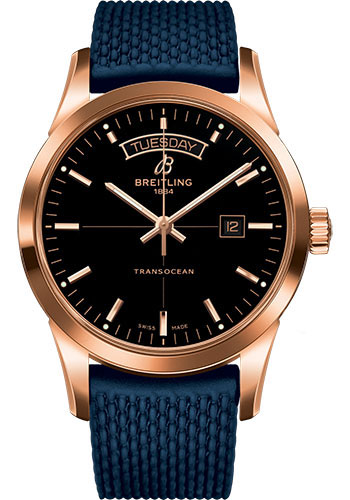 Breitling Watches - Transocean Day and Date Red Gold on Rubber Aero Classic Deployant - Style No: R4531012/BB70-rubber-aero-classic-blue-safety-deployant