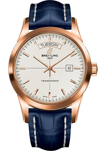 Breitling Watches - Transocean Day and Date Red Gold on Croco Deployant - Style No: R4531012/G752-croco-blue-deployant