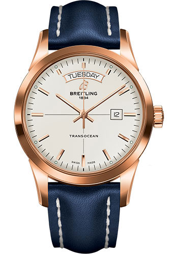 Breitling Watches - Transocean Day and Date Red Gold on Leather Deployant - Style No: R4531012/G752-leather-blue-deployant