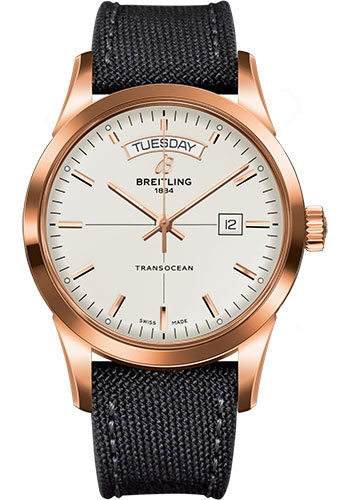 Breitling Watches - Transocean Day and Date Red Gold on Military Strap - Style No: R4531012/G752-military-anthracite-tang