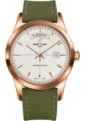 Breitling Watches - Transocean Day and Date Red Gold on Military Strap - Style No: R4531012/G752-military-khaki-green-tang