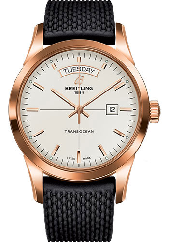 Breitling Watches - Transocean Day and Date Red Gold on Rubber Aero Classic - Style No: R4531012/G752-rubber-aero-classic-black-safety-deployant