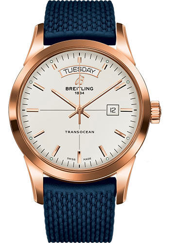 Breitling Watches - Transocean Day and Date Red Gold on Rubber Aero Classic - Style No: R4531012/G752-rubber-aero-classic-blue-safety-deployant