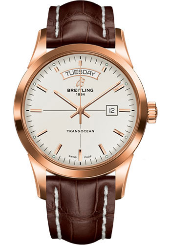 Breitling Watches - Transocean Day and Date Red Gold - Croco Strap - Tang - Style No: R45310121G1P1
