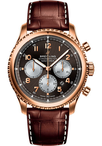 Breitling Watches - Aviator 8 B01 Chronograph 43 Red Gold - Croco Strap - Tang Buckle - Style No: RB0117131Q1P1