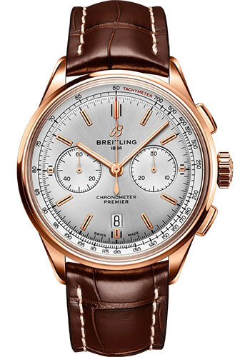 Breitling Watches - Premier B01 Chronograph 42 Red Gold - Croco Strap - Tang Buckle - Style No: RB0118371G1P1