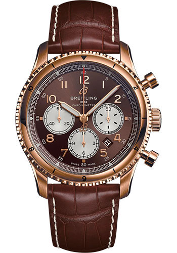 Breitling Watches - Aviator 8 B01 Chronograph 43 Red Gold - Croco Strap - Tang Buckle - Style No: RB0119131Q1P1